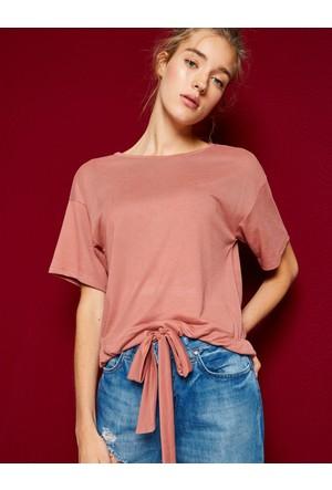 Koton Kadın Bağlamalı T-Shirt Kahverengi