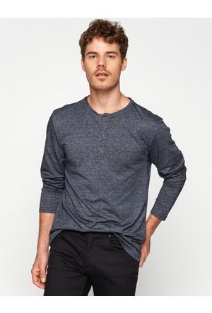 Koton Erkek Düğme Detaylı T-Shirt Lacivert