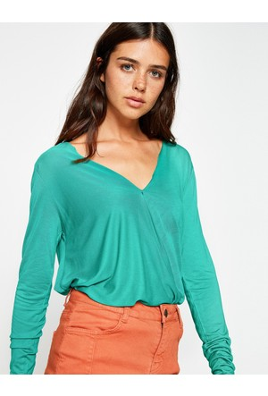 Koton Kadın V-Yaka Tişört Yeşil