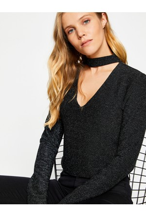Koton Kadın Yaka Detaylı T-Shirt Siyah