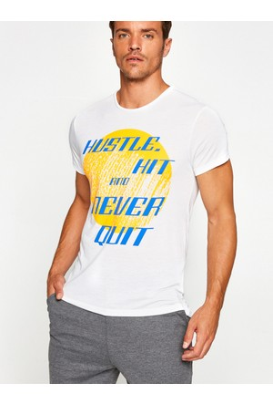 Koton Erkek Yazı Baskılı T-Shirt Beyaz