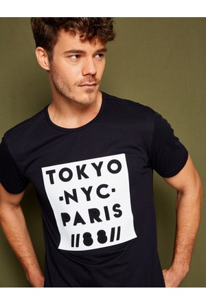 Koton Erkek Yazılı Baskılı T-Shirt Siyah