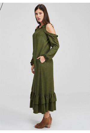 Femme Omuzları Dekolte Elbise