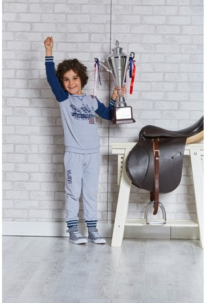 U.S. Polo Assn. Lisanslı Erkek Çocuk Pijama Takımı