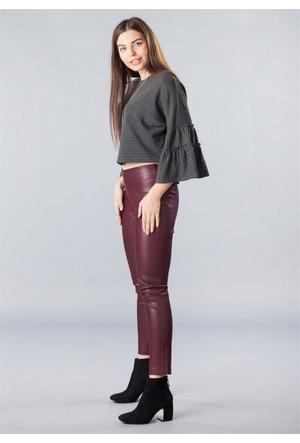 Femme Deri Pantolon Bordo