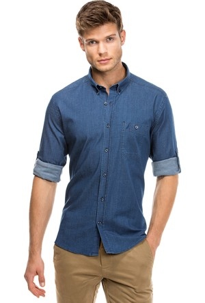 Nautica Slim Fit Erkek Mavi Kot Gömlek W73052T.9Ix