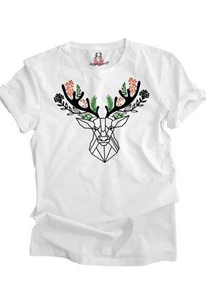 Suluboyadesign Minimal Geyik Baskılı Sıfır Yaka Erkek Tshirt