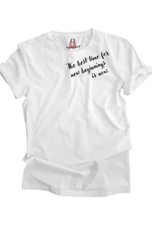 Suluboyadesign Yeni Başlangıç Baskılı Sıfır Yaka Erkek Tshirt