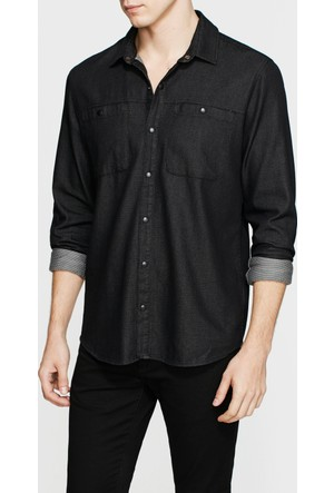 Mavi Cepsiz Denim Siyah Gömlek