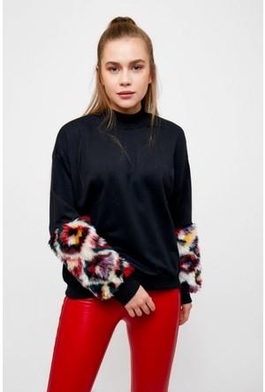 Eka Yarım Balıkçı Kolları Peluşlu Swetshirt
