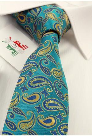 La Pescara Yeşil Şal Desen Slim Kravat 6069