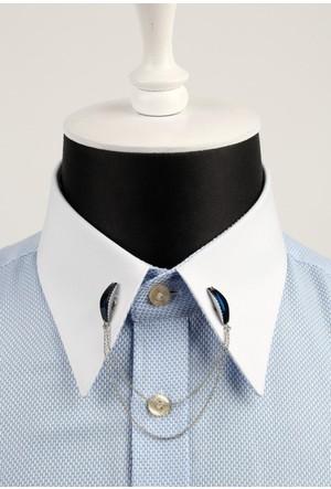 La Pescara Lacivert Taşlı Zincirli Gümüş Renk Gömlek Yaka İğnesi Gı028