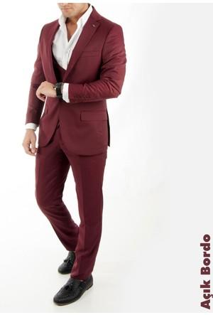 Deepsea Açık Bordo İtalyan Kesim Zincir Aksesuarlı Yelekli Erkek Takım Elbise 1710383