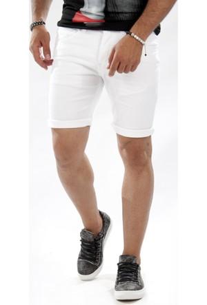 Deepsea Beyaz Likralı Dar Kesim Renkli Gabardin Erkek Kapri 1603301