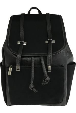 Çanta Stilim Siyah Renk Suni Deri 7119-S Bayan Sırt Çantası