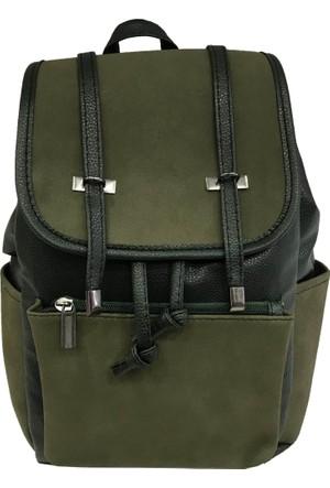 Çanta Stilim Yeşil Renk Suni Deri 7119-Y Bayan Sırt Çantası