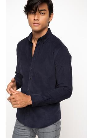 DeFacto Erkek Modern Fit Kadife Gömlek Mavi