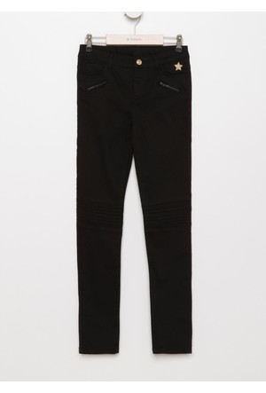 DeFacto Kız Çocuk Fermuar Detaylı 5 Cep Pantolon Siyah