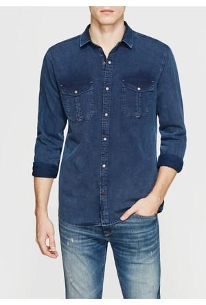 Mavi Erkek Çift Cep İndigo Gömlek