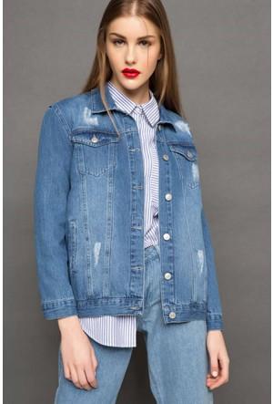 DeFacto Kadın Baskı Detaylı Kot Ceket Mavi