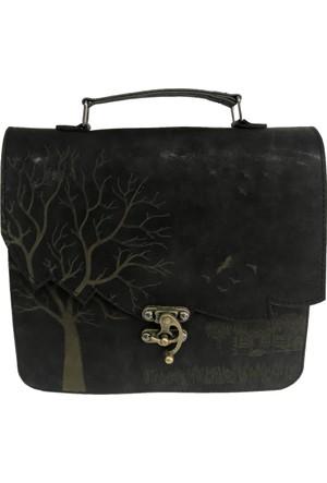 Çanta Stilim Siyah Renk Nubuk Deri 2422-S El Ve Çapraz Bayan Çantası