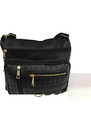 Çanta Stilim Siyah Renk Suni Deri 9102-S Çok Gözlü Çapraz Bayan Çantası