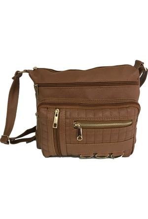 Çanta Stilim Taba Renk Suni Deri 9102-T Çok Gözlü Çapraz Bayan Çantası