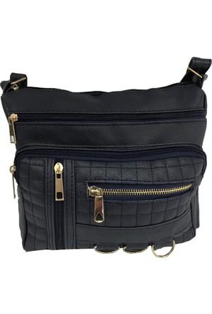 Çanta Stilim Lacivert Renk Suni Deri 9102-L Çok Gözlü Çapraz Bayan Çantası