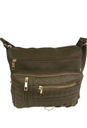 Çanta Stilim Vizon Renk Suni Deri 9102-V Çok Gözlü Çapraz Bayan Çantası