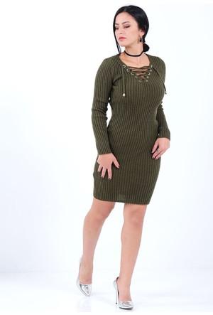 Vavin Bağcık Yaka Çizgili Haki Triko Elbise