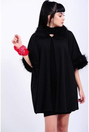 Vavin Peluş Detay Siyah Pelerin Panço