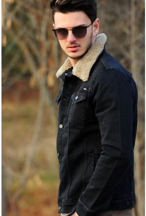Vavin Yaka Kürk Siyah Kot Ceket