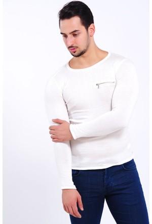 Vavin Fermuar Detay Beyaz Triko