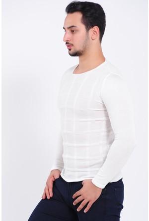 Vavin Kare Şerit Desen Beyaz Triko
