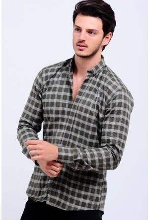 Vavin Çizgi Desen Oduncu Haki Gömlek
