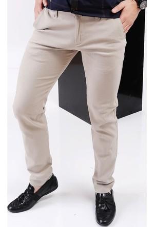 Vavin Çizgili Klasik Krem Pantolon