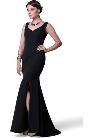 Pierre Cardin Siyah Yırtmaçlı Uzun Balık Abiye Elbise