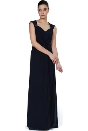 Pierre Cardin Lacivert Yırtmaçlı Dantelli Uzun Abiye Elbise