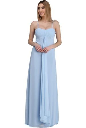 Pierre Cardin Bebe Mavi Askılı Uzun Şifon Abiye Elbise