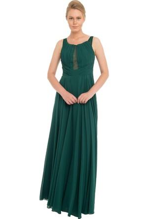 Pierre Cardin Yeşil Göğüs Dekolteli Şifon Uzun Abiye Elbise