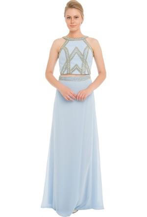 Pierre Cardin Bebe Mavi Taşlı Büstiyer Takım Abiye Elbise