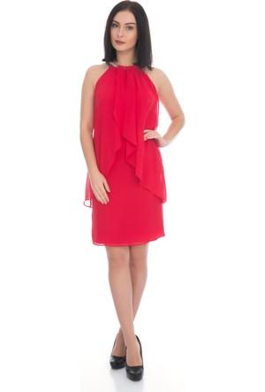 6IXTY8IGHT Kırmızı Yakası Taşlı Kısa Şifon Abiye Elbise