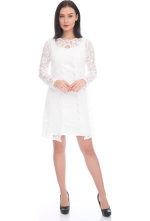 6IXTY8IGHT Beyaz Dantelli Takım Abiye Elbise
