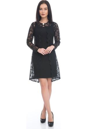 6IXTY8IGHT Siyah Dantelli Takım Abiye Elbise