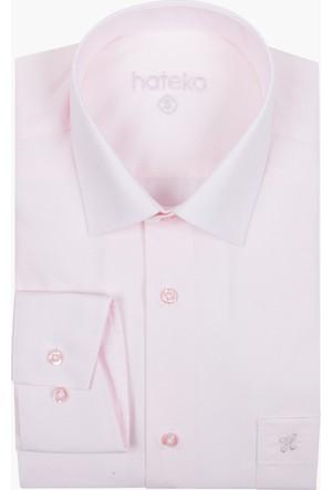 Hateko Açık Pembe Klasik Kesim Erkek Takım Elbise Gömleği