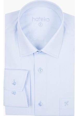 Hateko Bebek Mavisi Klasik Kesim Erkek Takım Elbise Gömleği