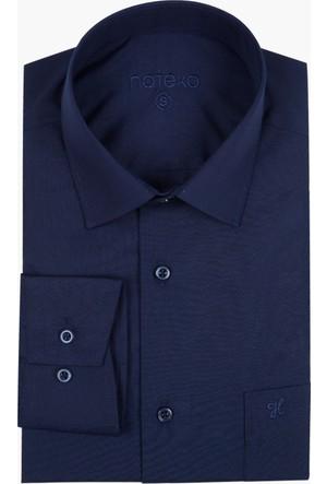 Hateko Lacivert Klasik Kesim Erkek Takım Elbise Gömleği