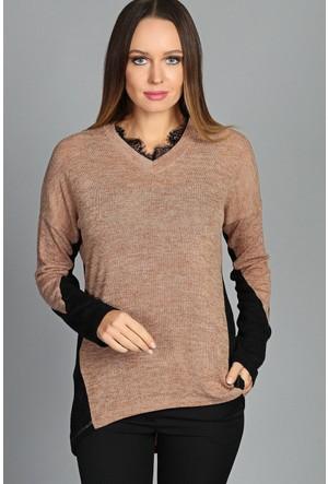 Moda Cazibe Yaka Dantel Detay Bluz Vizon