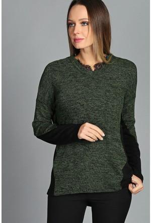 Moda Cazibe Yaka Dantel Detay Bluz Yeşil