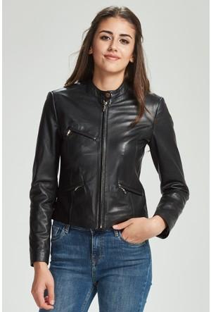 Vena Adriana Deri Ceket Siyah